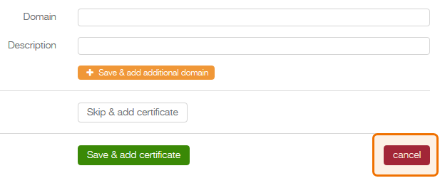 add domain form - cancel