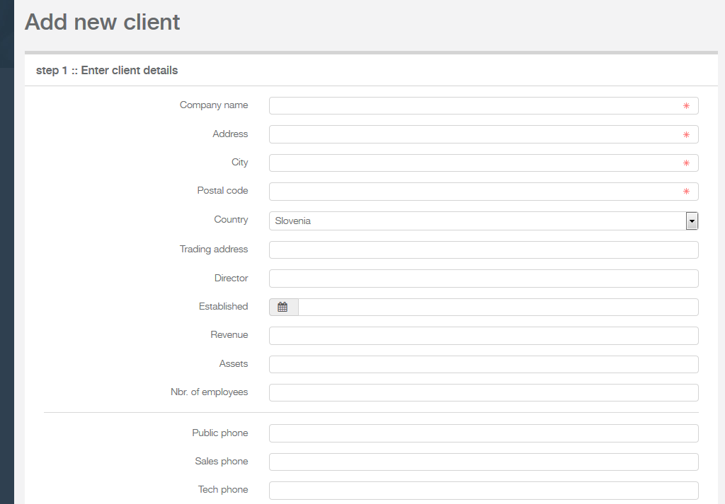 enter client form