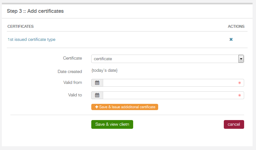 add certificate form